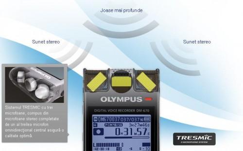 Reportofon ultra-profesional Olympus DM-670 stereo - 3 microfoane